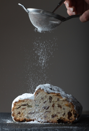stollen with icing sugar  photo