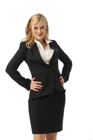 business woman in black on white  photo