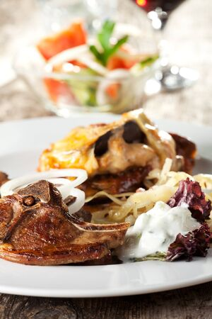 tzatziki: lamb chop and tzatziki  Stock Photo