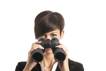 woman with binoculars  photo