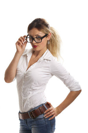 beautiful woman with glasses  photo