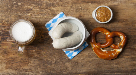 bavarian white sausages with pretzel  photo