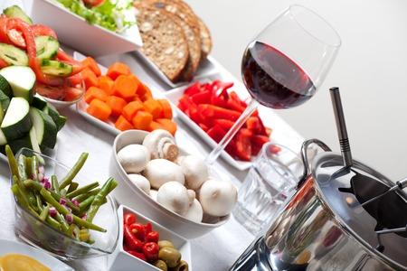 fondue set on a table  photo