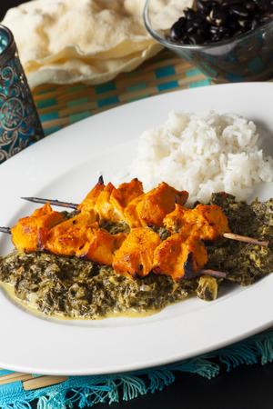 kebob: indian chicken meat skewers
