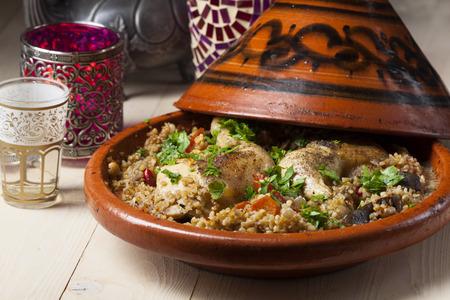 moroccan cuisine: cooked chicken in a tajine