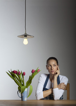 woman on a table  photo