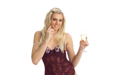 blonde woman in underwear with champagne  photo