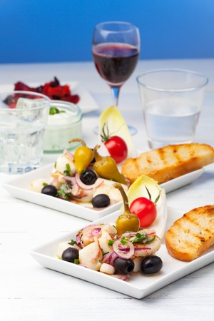 greek salad of grilled octopus  photo