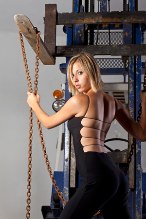 woman with a fork lift  photo