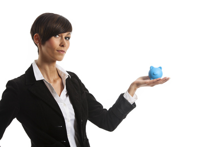 young woman with a piggy bank  photo