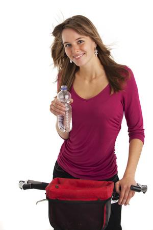 young woman on a mountain bike  photo