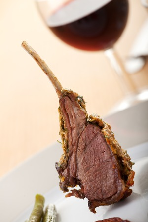 closeup of grilled lamb chops  photo