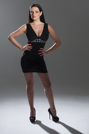 woman in a short black dress  photo
