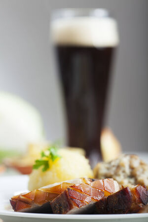 bavarian roasted pork and beer  photo