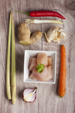closeup of the ingredients of a tom kha gai soup  photo