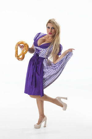 decollete: bavarian woman with a pretzel