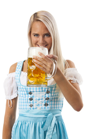 attractive bavarian woman with a beer photo