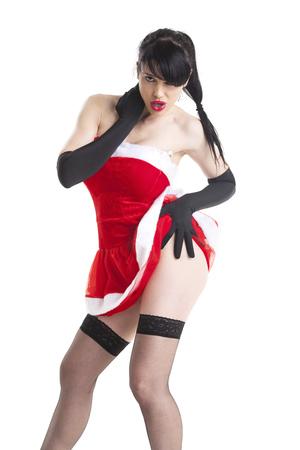 attractive woman in a santa costume