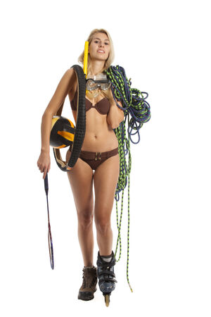 attractive woman with sport equipment photo