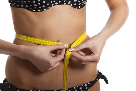 woman measuring: woman measuring her belly