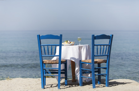 greek salad and the ocean Stock Photo