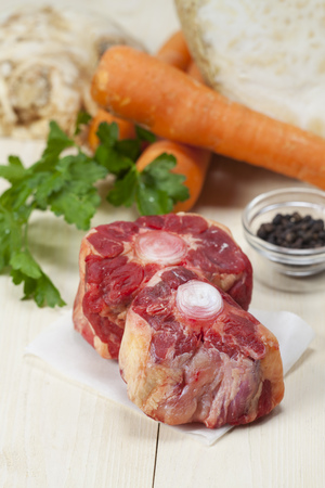 in ox: raw ox tail with ingredients Stock Photo