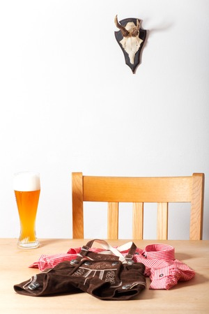 lederhose: bavarian costume on a table