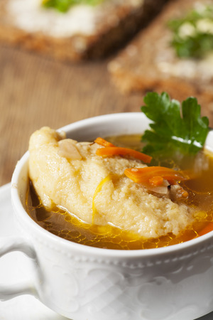 closeup of a bavarian dumpling soup photo
