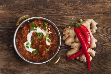 indian chicken curry in a pot