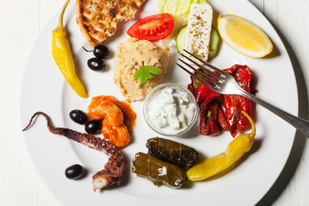 variety of greek appetizers photo