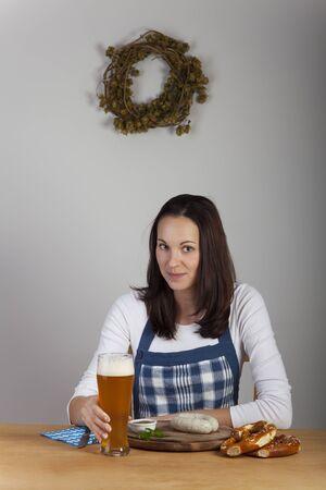 bavarian: bavarian woman and sausages Stock Photo