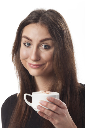 cappuchino: smiling woman with a cappuchino