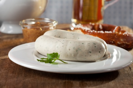 weisswurst: pair of bavarian white sausages
