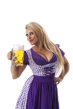 decollete: bavarian woman with a beer Stock Photo