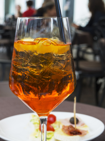 spritz cocktail outdoor with snacks Stock Photo