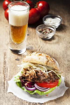 pulled: pulled pork in a bun