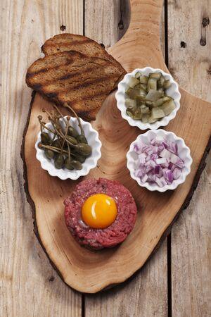 steak tartare: steak tartare with decoration