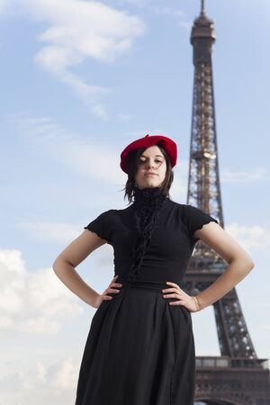 french woman: french woman and eiffel tower