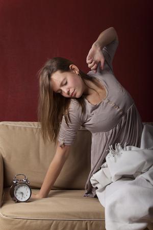 waking: young woman waking up