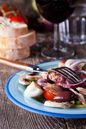 haricot vert: french salad nicoise on a plate Stock Photo