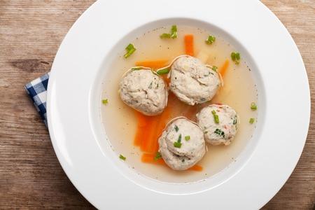 farce: bavarian dumpling soup in a plate