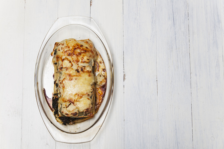 glass plate: spinach lasagna on a glass plate