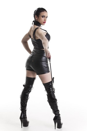 dominatrix in a leather outfit