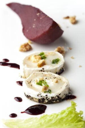 haloumi: wine pears and goat cheese
