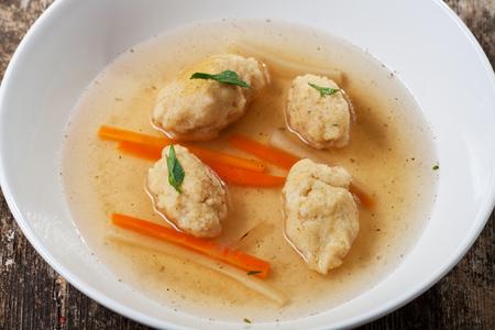 bavarian semolina dumpling soup with carrot