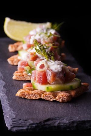tuna mayo: crispbread with tuna Stock Photo