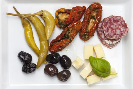antipasti: closeup of mixed italian antipasti