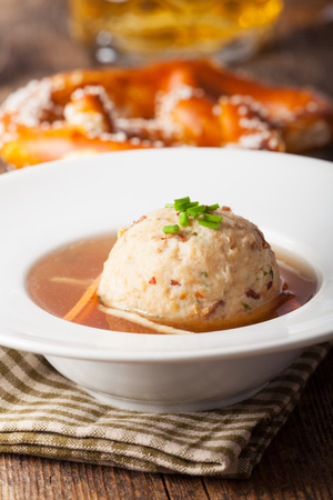 tyrolean: tyrolean dumpling in broth Stock Photo