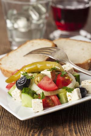 side salad: closeup of a greek side salad Stock Photo