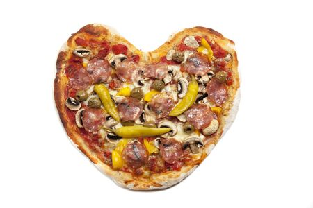 shaped: heart shaped pizza from above